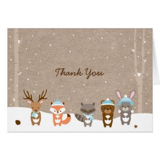 El animal del arbolado del invierno le agradece tarjeta pequeña