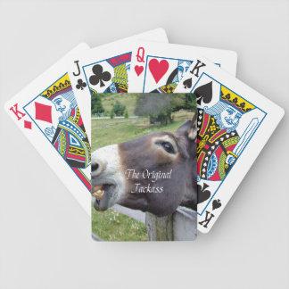 El animal del campo divertido de la mula del burro barajas de cartas