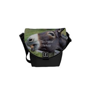 El animal del campo divertido de la mula del burro bolsa de mensajeria