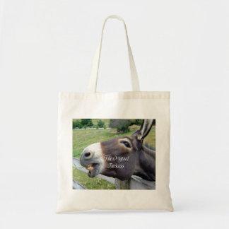 El animal del campo divertido de la mula del burro bolsas lienzo