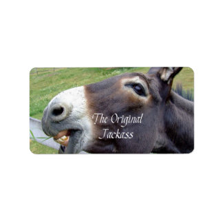 El animal del campo divertido de la mula del burro etiqueta de dirección