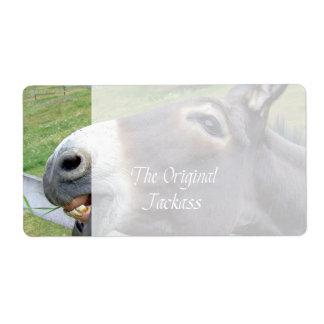 El animal del campo divertido de la mula del burro etiquetas de envío