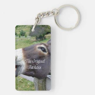El animal del campo divertido de la mula del burro llavero rectangular acrílico a doble cara