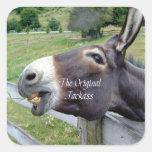 El animal del campo divertido de la mula del burro calcomania cuadradas personalizadas