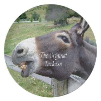 El animal del campo divertido de la mula del burro plato de comida