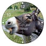 El animal del campo divertido de la mula del burro relojes de pared