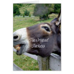 El animal del campo divertido de la mula del burro tarjeton