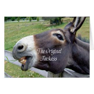 El animal del campo divertido de la mula del burro tarjeta pequeña