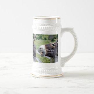 El animal del campo divertido de la mula del burro taza