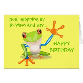 El animal divertido de la rana linda embroma feliz tarjetón