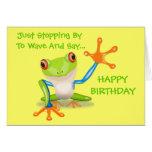 El animal divertido de la rana linda embroma feliz tarjeta de felicitación
