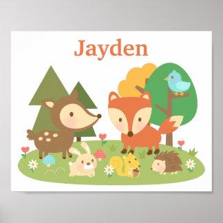 El animal lindo del arbolado del bosque embroma el póster