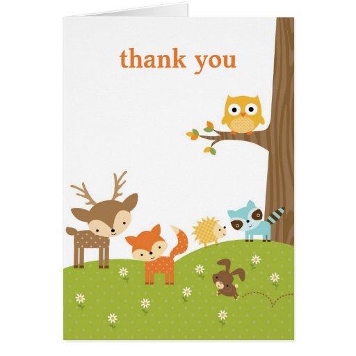 El animal lindo del arbolado le agradece las tarje tarjeta pequeña