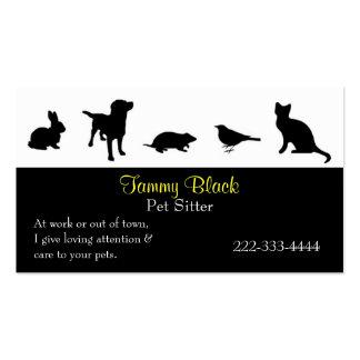 El animal negro siluetea la tarjeta de visita del