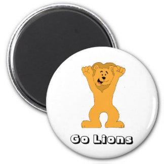 El animar de la fan del león del dibujo animado imán redondo 5 cm