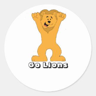 El animar de la fan del león del dibujo animado pegatina redonda