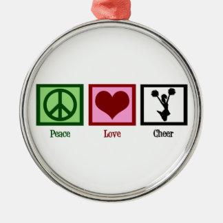 El animar del amor de la paz adorno redondo plateado