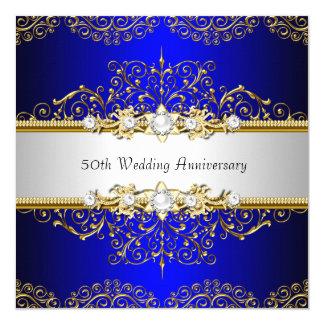 """El aniversario de boda azul del remolino 50.o del invitación 5.25"""" x 5.25"""""""
