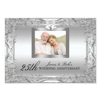 """El aniversario de boda de plata del damasco 50.o invitación 5"""" x 7"""""""