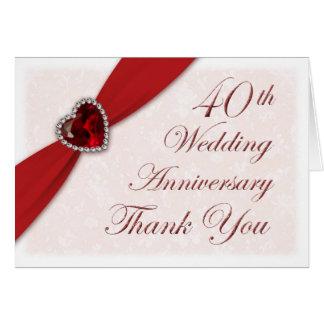 El aniversario de boda del damasco 40.o le agradec tarjeta pequeña