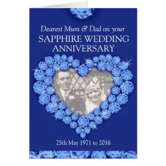 El aniversario de boda del zafiro parents la tarje tarjeta de felicitación
