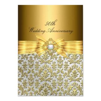 """El aniversario de boda elegante del damasco 50.o invitación 5"""" x 7"""""""