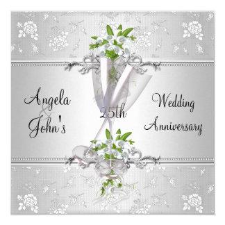 """El aniversario de boda elegante invita invitación 5.25"""" x 5.25"""""""