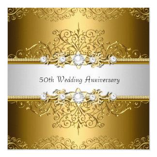 """El aniversario de boda floral del remolino 50.o invitación 5.25"""" x 5.25"""""""