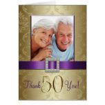 El aniversario de boda púrpura del oro 50.o le felicitacion