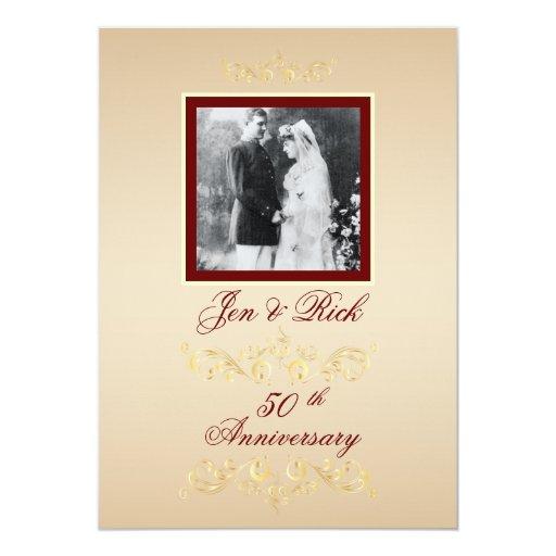 El aniversario de la foto del vintage invita invitación 12,7 x 17,8 cm