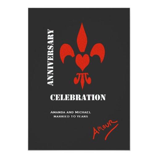 El aniversario del amorío del corazón de la flor invitación 12,7 x 17,8 cm