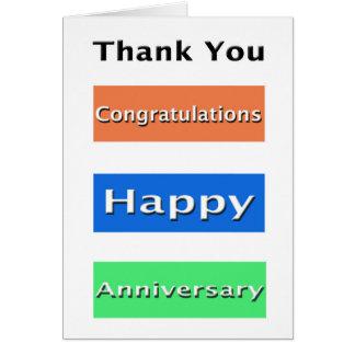 El aniversario del empleado simple le agradece tarjeta de felicitación