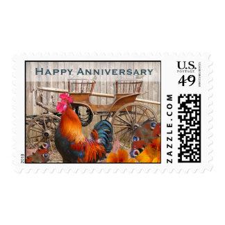 El aniversario feliz sella el gallo y el carro sello