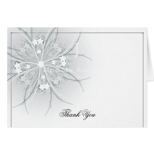 El aniversario floral del monograma le agradece tarjeta pequeña