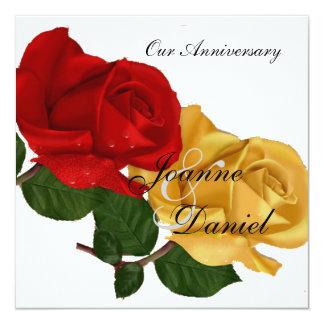 El aniversario invita al rosa amarillo rojo blanco invitación 13,3 cm x 13,3cm