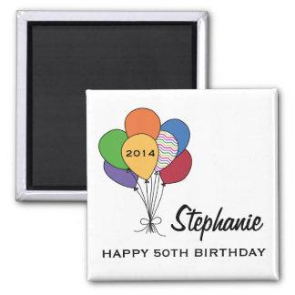 El año anticuado, edad, nombra cumpleaños imán cuadrado