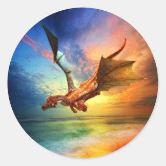 El año del dragón pegatina redonda