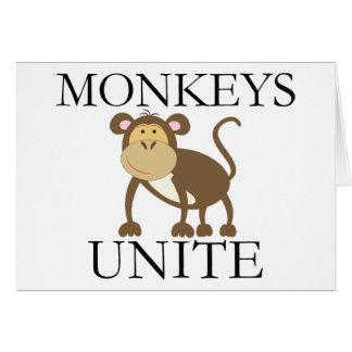 """El año divertido del mono """"monos une """" tarjeta de felicitación"""