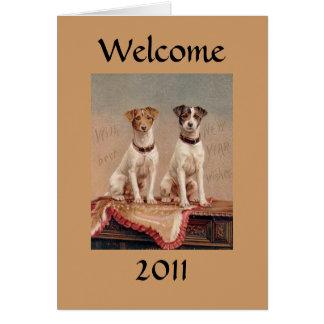 El Año Nuevo de los perros del Victorian del Tarjeta De Felicitación