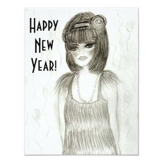 """El Año Nuevo del chica de la aleta invita Invitación 4.25"""" X 5.5"""""""