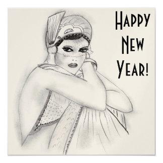 """El Año Nuevo del chica de la aleta invita Invitación 5.25"""" X 5.25"""""""