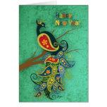 El Año Nuevo del pavo real desea 2013 Tarjetas