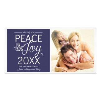 El Año Nuevo moderno desea paz y alegría Tarjeta Fotográfica Personalizada