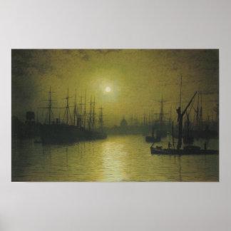 El anochecer Thames de Grimshaw Poster