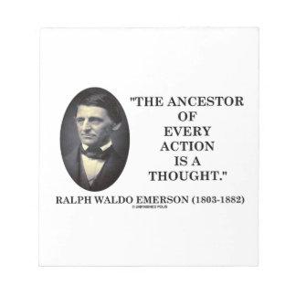 El antepasado de cada acción es un pensamiento libretas para notas