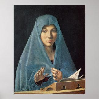 El anuncio, 1474-75 (aceite en el panel) posters
