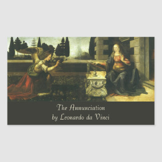 El anuncio de Leonardo da Vinci Rectangular Pegatina