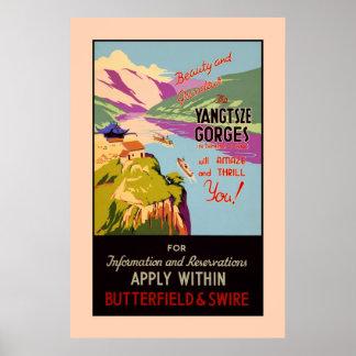 El anuncio del viaje del vintage el Yangtze Gorges Posters