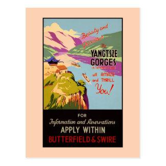 El anuncio del viaje del vintage el Yangtze Gorges Tarjetas Postales