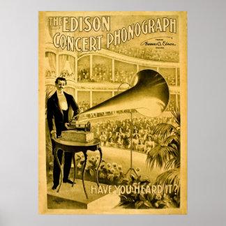 El anuncio del vintage del fonógrafo del concierto póster